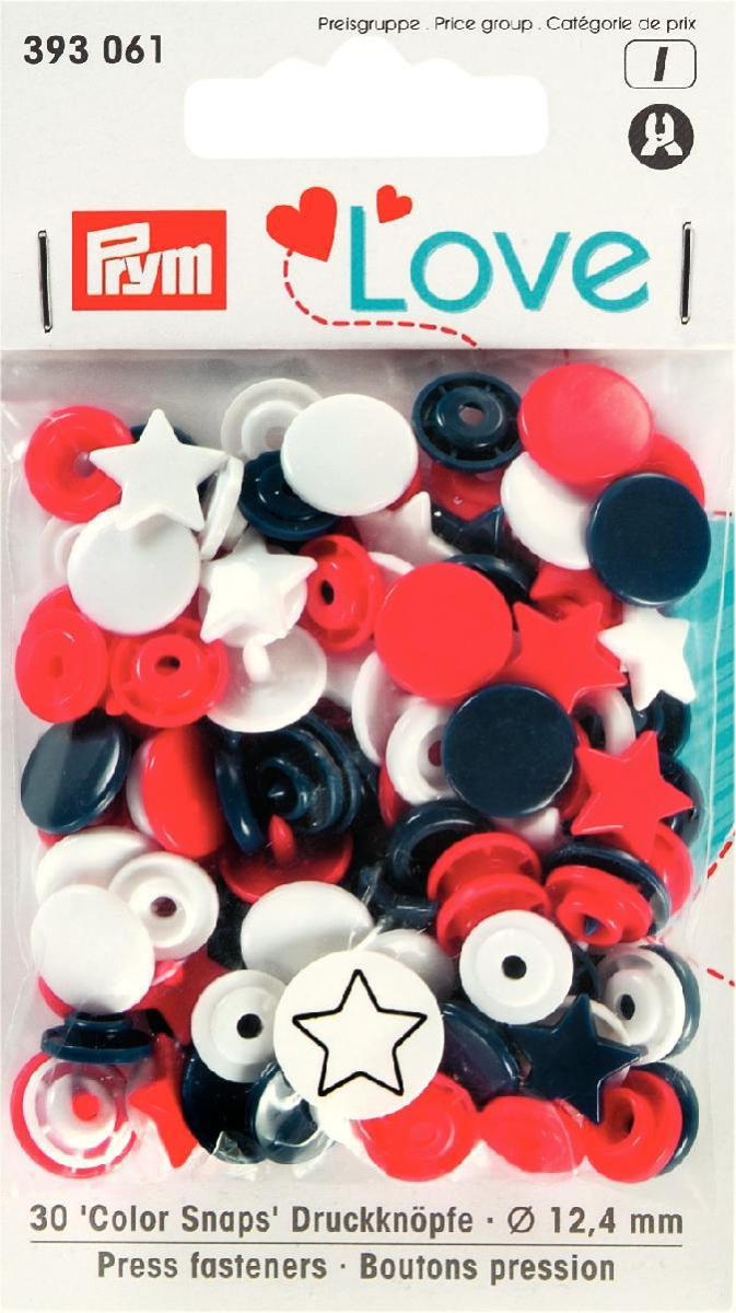 Prym Love Colour Snaps 12mm red/white/navy Star Shape